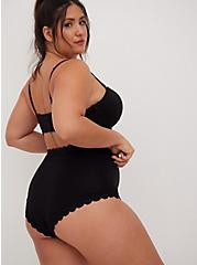 Black Cotton High Waist Cheeky Panty, RICH BLACK, alternate