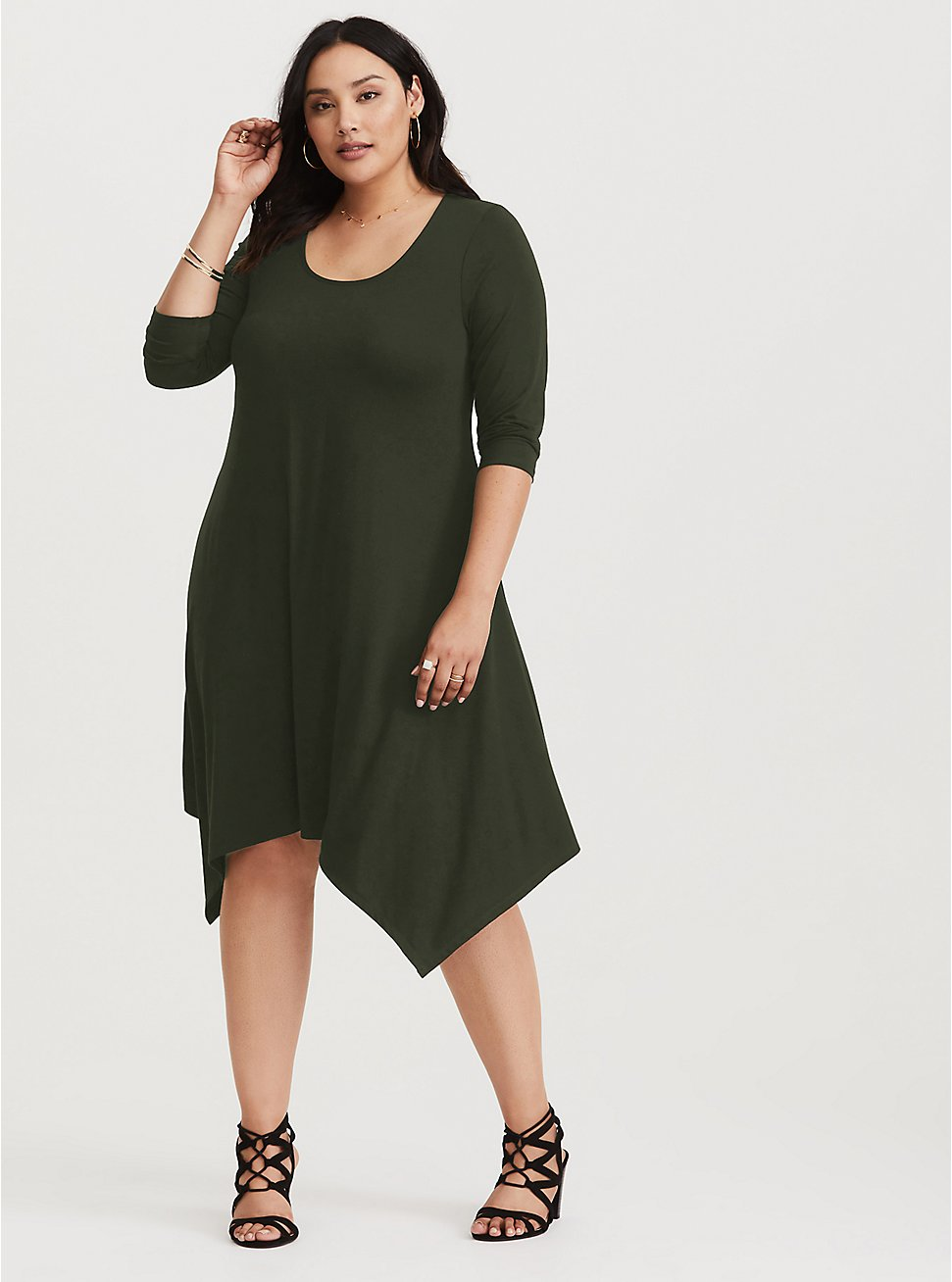 Green Jersey Handkerchief Dress, GREEN, hi-res