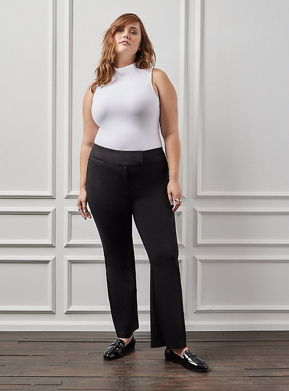 Studio Classic Millennium Stretch Black High Rise Relaxed Trouser, , hi-res