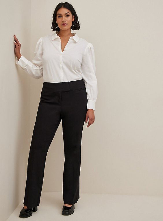 Studio Classic Millennium Stretch Black High Rise Relaxed Trouser, DEEP BLACK, hi-res