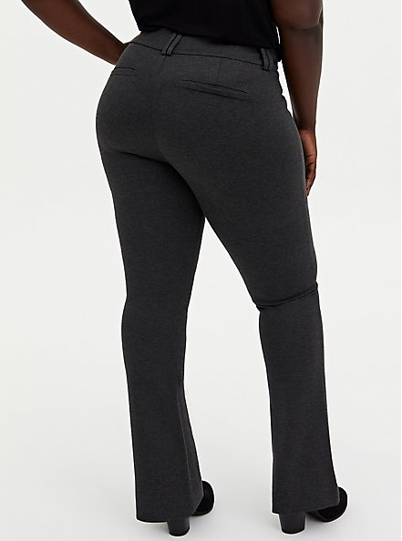 Studio Signature Stretch Charcoal Grey Premium Ponte Trouser, CHARCOAL HEATHER, alternate