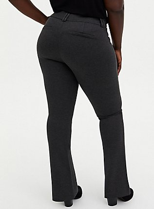 Plus Size Studio Signature Premium Ponte Stretch Trouser - Charcoal Grey, CHARCOAL HEATHER, alternate