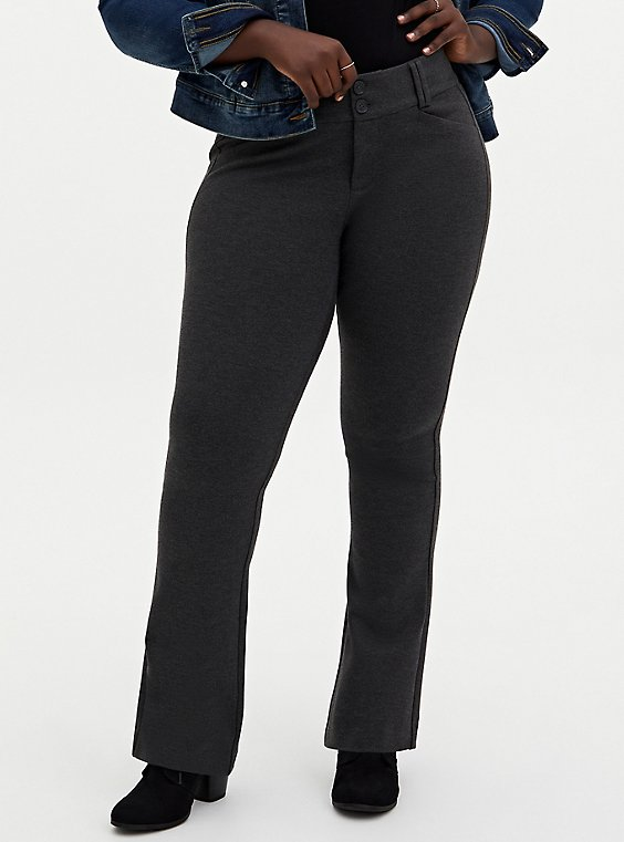 Studio Signature Stretch Charcoal Grey Premium Ponte Trouser, CHARCOAL HEATHER, hi-res