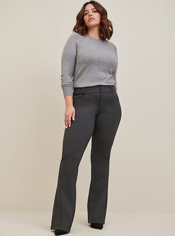 Studio Signature Stretch Charcoal Grey Premium Ponte Trouser, , hi-res