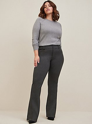 Plus Size Studio Signature Premium Ponte Stretch Trouser - Charcoal Grey, CHARCOAL HEATHER, hi-res
