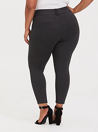 Plus Size Studio Signature Premium Ponte Stretch Ankle Skinny Pant - Charcoal Grey, CHARCOAL HEATHER, alternate