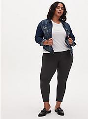 Plus Size Studio Signature Stretch Charcoal Grey Premium Ponte Ankle Skinny Pant, CHARCOAL HEATHER, alternate