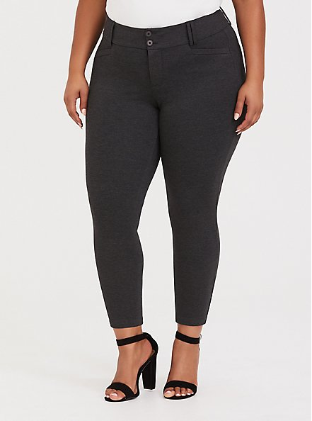 Studio Signature Stretch Charcoal Grey Premium Ponte Ankle Skinny Pant, CHARCOAL HEATHER, hi-res