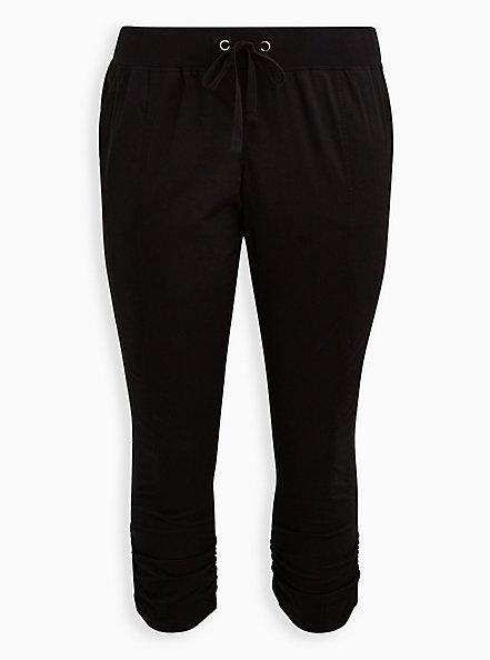 Black Stretch Poplin Ruched Crop, DEEP BLACK, hi-res