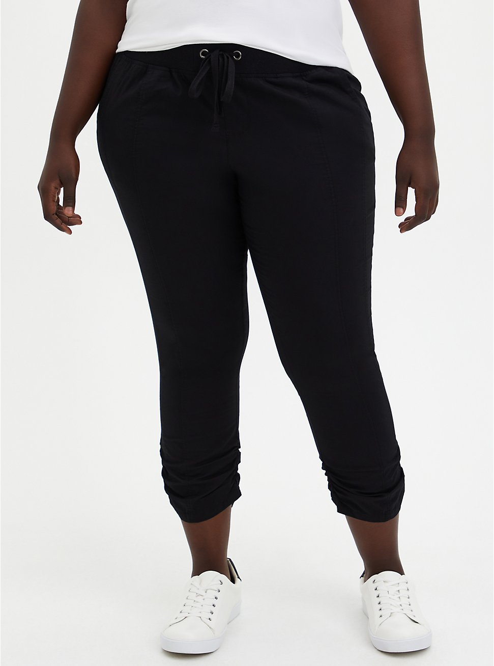 Black Poplin Crop Pant, DEEP BLACK, hi-res