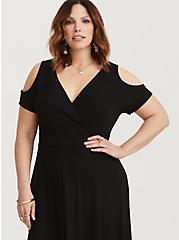 Black Jersey Cold Shoulder Maxi Dress, DEEP BLACK, alternate