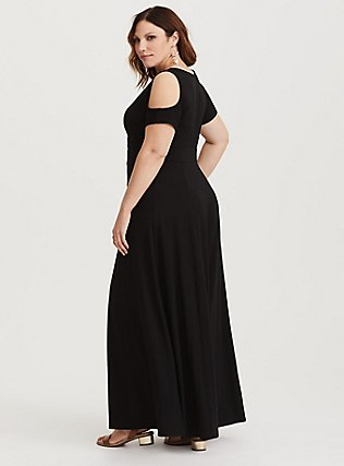 Black Jersey Cold Shoulder Maxi Dress, DEEP BLACK, alternate