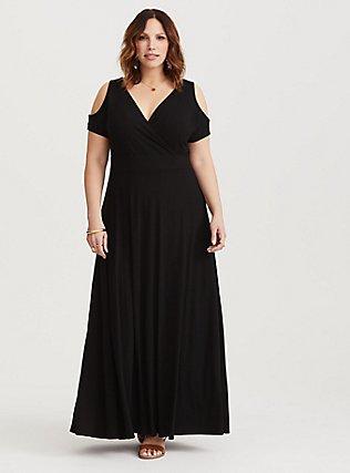 Black Jersey Cold Shoulder Maxi Dress, DEEP BLACK, hi-res
