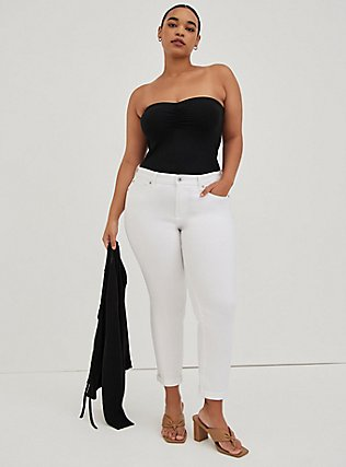 Plus Size Black Ruched Foxy Tube Top, DEEP BLACK, hi-res