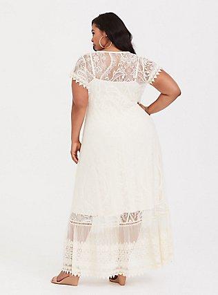 Plus Size Ivory Lace Maxi Dress, BIRCH, alternate