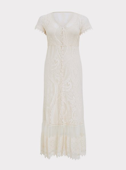 Ivory Lace Maxi Dress, BIRCH, hi-res