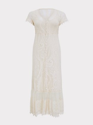 Ivory Lace Maxi Dress, BIRCH, flat