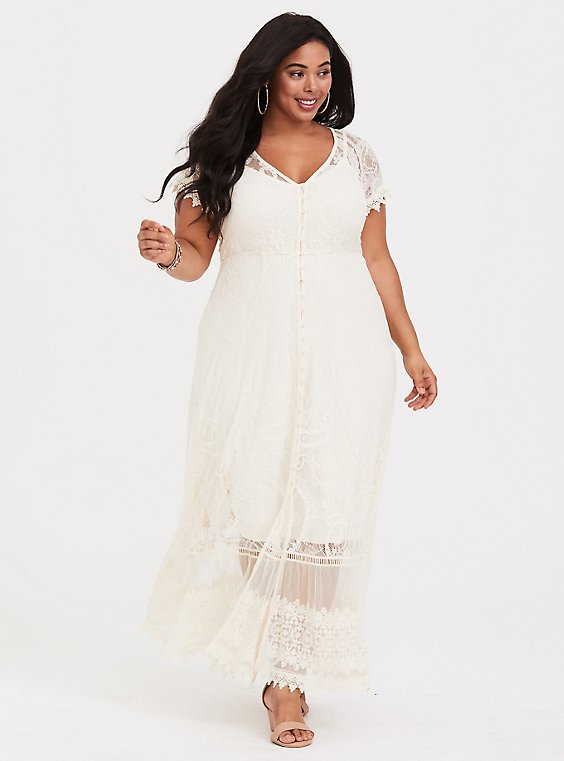 Plus Size Ivory Lace Maxi Dress, , hi-res
