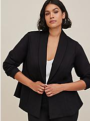 Studio Black Uptown Premium Ponte Stretch Peplum Blazer, DEEP BLACK, alternate