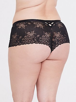 Black Lace Lattice Back Cheeky Panty, RICH BLACK, hi-res