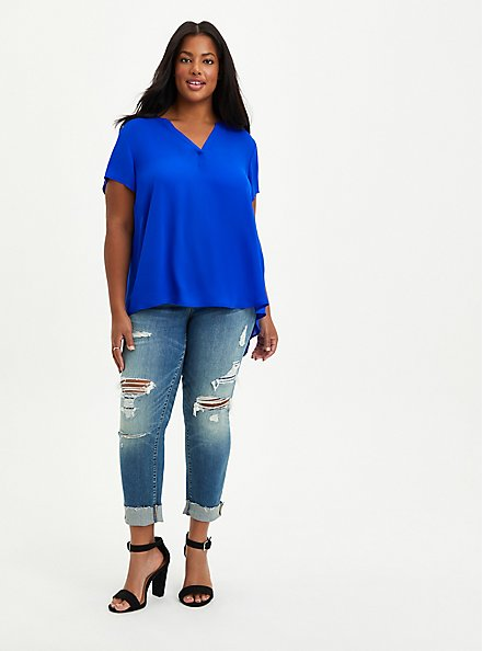 Short Sleeve Georgette Pullover Blouse, BLUE, alternate