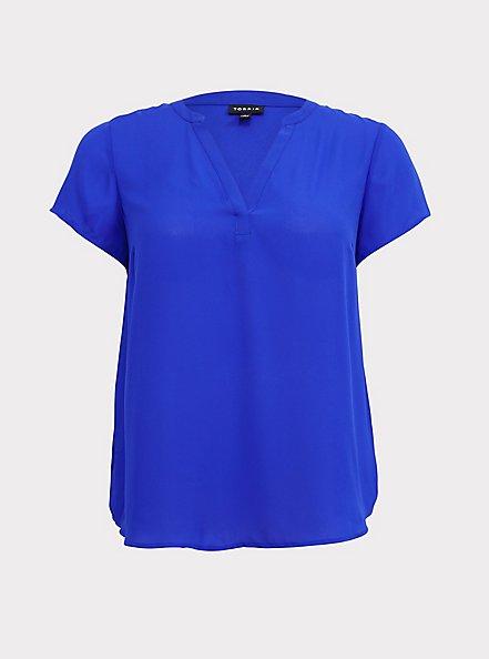 Short Sleeve Georgette Pullover Blouse, BLUE, hi-res