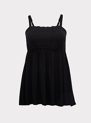 Plus Size Black Crepe Embroidered Sharkbite Cami, DEEP BLACK, flat