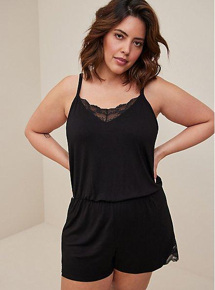 Black Jersey Lace Trim Sleep Romper, DEEP BLACK, alternate