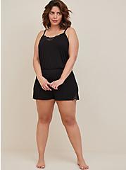 Black Jersey Lace Trim Sleep Romper, DEEP BLACK, hi-res