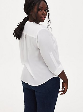 Plus Size Harper - Ivory Georgette Pullover Blouse, CLOUD DANCER, alternate