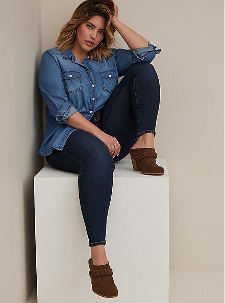 Plus Size Taylor - Medium Wash Denim Button-Up Shirt, DARK DENIM, alternate
