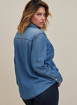 Plus Size Taylor - Medium Wash Denim Button-Up Shirt, DARK DENIM, alternate