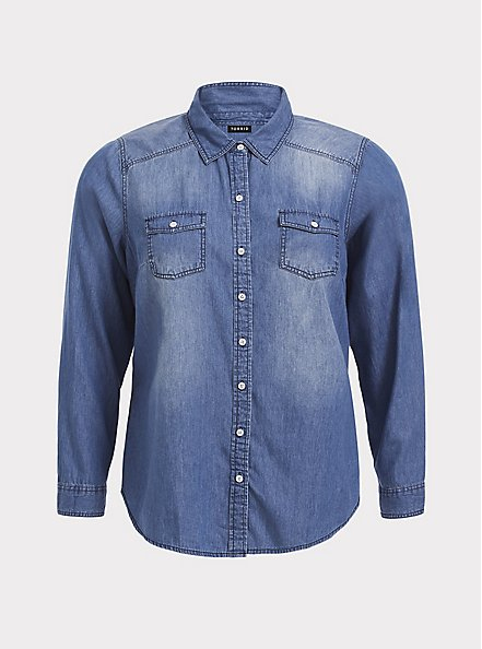 Plus Size Taylor - Medium Wash Denim Button-Up Shirt, DARK DENIM, hi-res