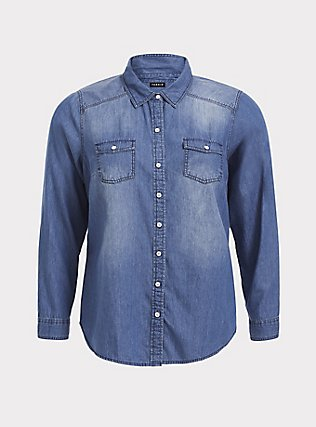 Plus Size Taylor - Medium Wash Denim Button-Up Shirt, DARK DENIM, flat