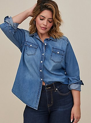 Plus Size Taylor - Medium Wash Denim Button-Up Shirt, DARK DENIM, hi-res