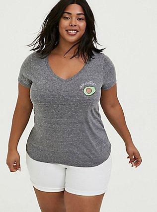 Slim Fit V-Neck Tee - Heritage Cotton Heather Grey Avocado, MEDIUM HEATHER GREY, hi-res