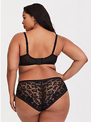 Plus Size Black Lace & Mesh Unlined Demi Bra, BLACK, alternate