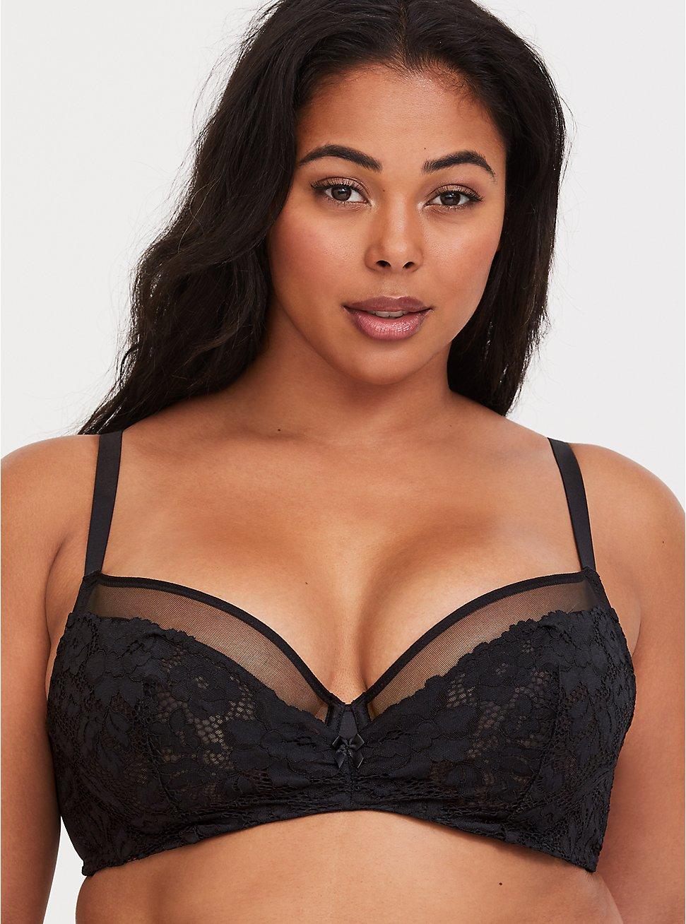Plus Size Black Lace & Mesh Unlined Demi Bra, BLACK, hi-res