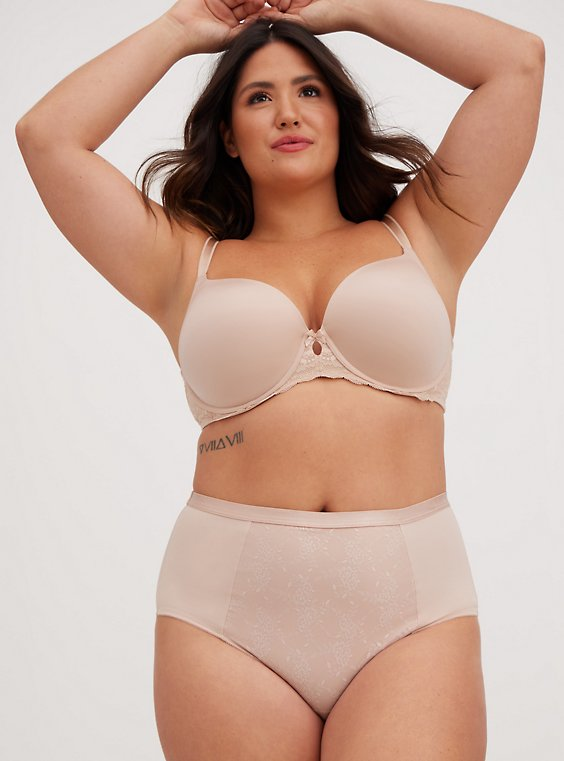 Plus Size Nude Microfiber 360° Smoothing Brief Panty , , hi-res