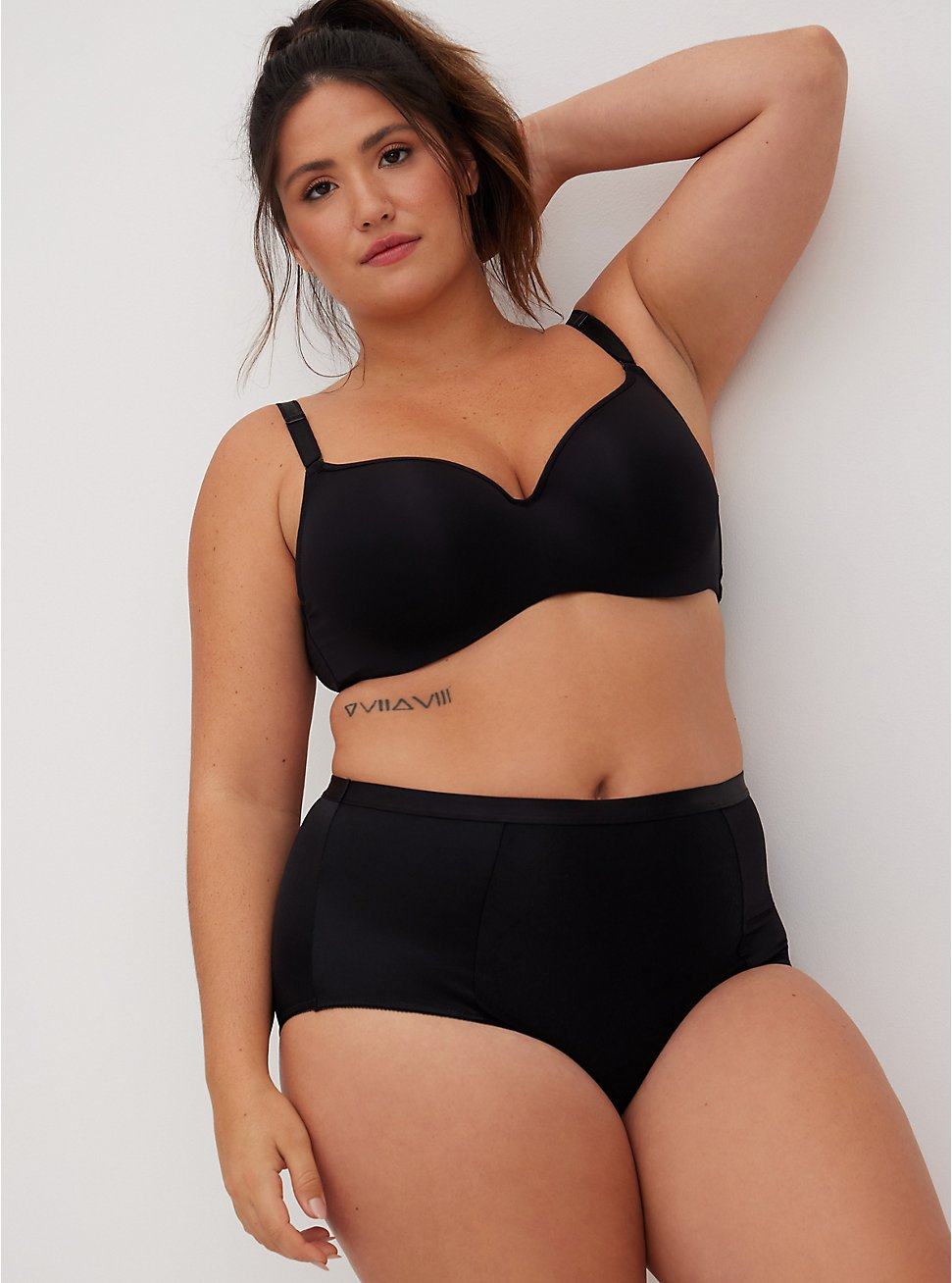 Black Microfiber 360° Smoothing Brief Panty, RICH BLACK, hi-res