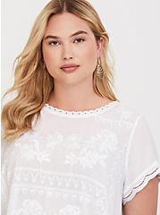 White Embroidered Challis Blouse, WHITE, alternate