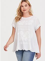 White Embroidered Challis Blouse, WHITE, hi-res