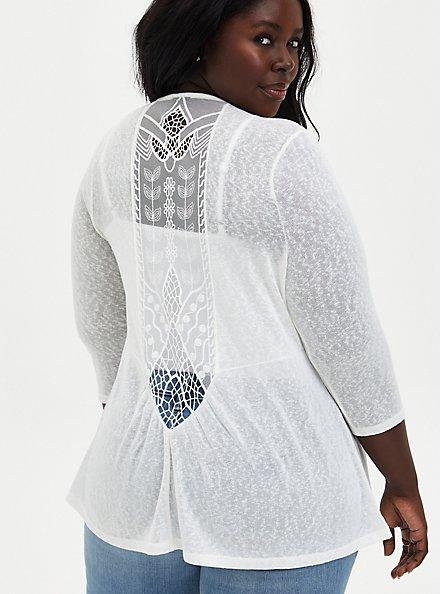 White Lace Knit Cardigan, IVORY, alternate