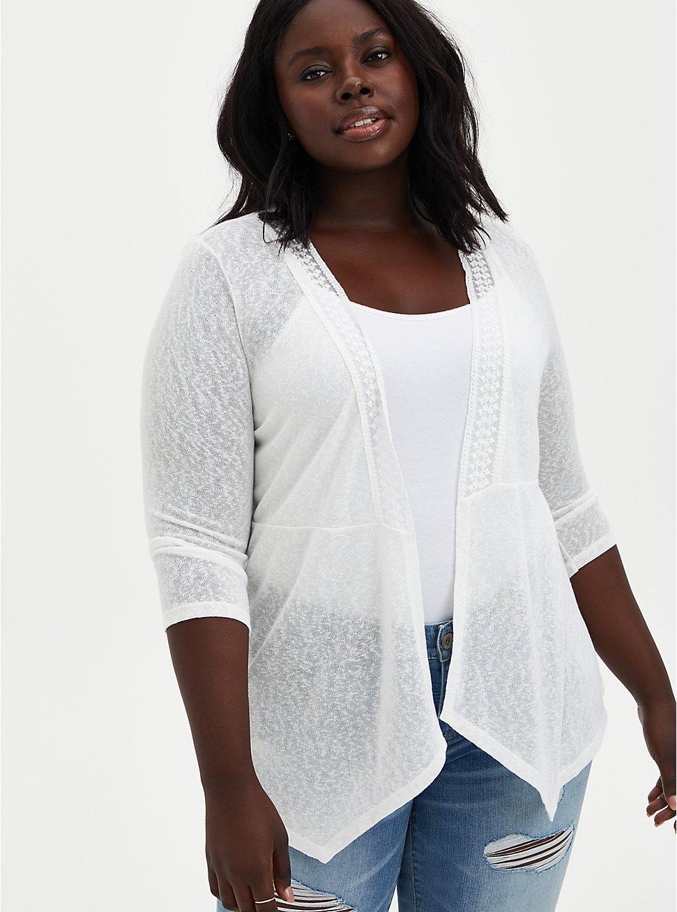 White Lace Knit Cardigan, IVORY, hi-res