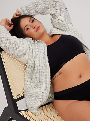 Plus Size Black Seamless Lightly Padded Bralette, RICH BLACK, alternate