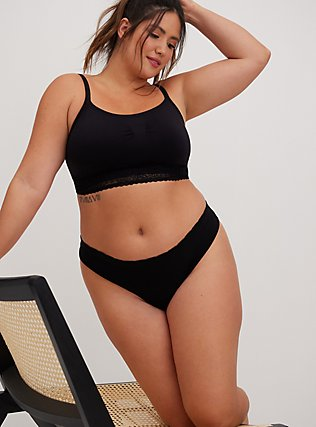 Plus Size Black Seamless Lightly Padded Bralette, RICH BLACK, hi-res