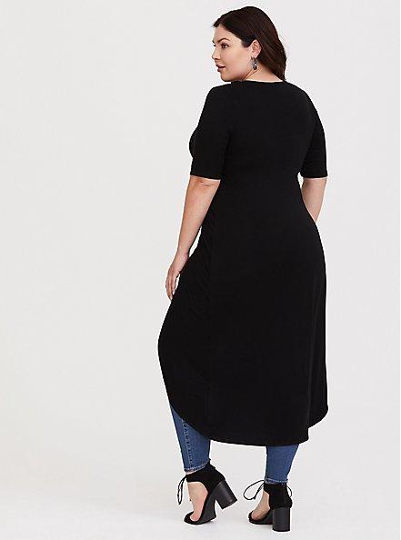Super Soft Black Knotted Asymmetrical Tunic Tee, DEEP BLACK, alternate