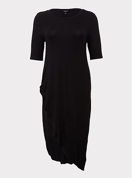 Super Soft Black Knotted Asymmetrical Tunic Tee, DEEP BLACK, hi-res