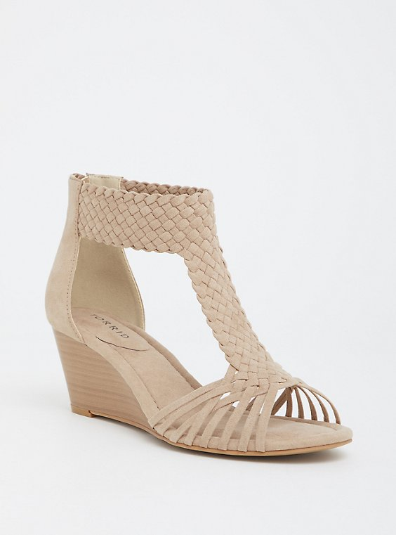 Beige Faux Suede Braided Midi Wedge (WW), , hi-res