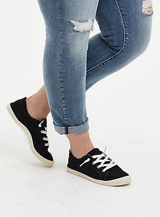 Plus Size Black Ruched Sneaker (WW), BLACK, alternate